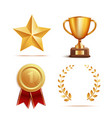 icon and symbol award prize and trophy set vector image