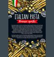 italian pasta sketch premium poster vector image vector image