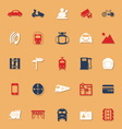 Land transport related classic color icons with vector image