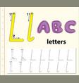 letter l tracing alphabet worksheets vector image