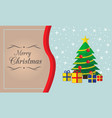 merry christmas card with tree and presents vector image