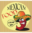 Mexican pepper cartoon character vector image vector image
