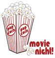 Movie Night Popcorn vector image vector image
