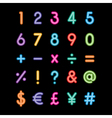 neon number and symbol vector image