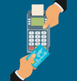 pay merchant hands credit card flat vector image