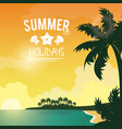 Poster sunset seaside with logo summer holydays