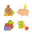 sack with money and wallet set vector image vector image