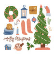 set of christmas celebration elements - tree vector image