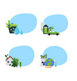 set of stickers with ecology flat icons vector image