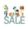small girl chacacters enjoy shopping vector image vector image