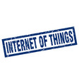 square grunge blue internet of things stamp vector image vector image