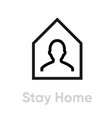 stay home protection measures icon editable line vector image vector image
