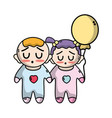 tender babies children with clothes and balloon vector image vector image