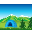 Tent in mountain vector image vector image