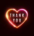 thank you background 3d heart neon light sign vector image
