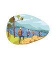 travelling team tourism nature hiking concept vector image vector image