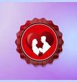 valentine day logo with silhouette couple over red vector image vector image
