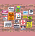 various tear off papers ad on brick wall vector image vector image