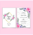 wedding invitation template roses watercolor vector image vector image
