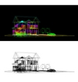 wireframe of cottage vector image vector image