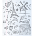 Set of images of various attractions Paris vector image