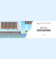 airport terminal with signs for social distancing vector image vector image