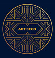 art deco linear circle round border frame vector image vector image