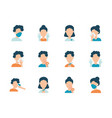 avatar people and coronavirus icon set flat style vector image vector image