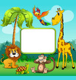 background with giraffe monkey lion and turtle on vector image