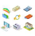 bank isometric icons internet banking money vector image vector image