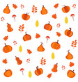 beautiful bright pattern with pumpkins leaves vector image vector image