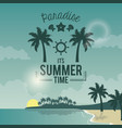 blue color poster seaside with logo text paradise vector image vector image