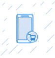 blue mobile phone and shopping cart line icon vector image vector image