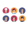 bundle of round portraits of happy people vector image
