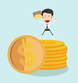 Businessman jump over coin stack vector image vector image