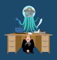 businessman scared under table of alien invader vector image vector image