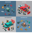 Car Service 4 Isometric Icons Square vector image vector image