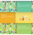 Cards with jars of honey vector image vector image