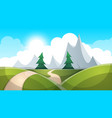 cartoon landscape sun road cloud vector image vector image