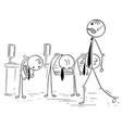 cartoon of boss manager walking his subordinates vector image