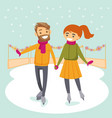 caucasian white couple skating on ice rink outdoor vector image