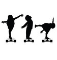 children silhouette on skate set in black vector image vector image