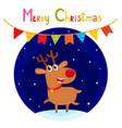 christmas greeting card with cute cartoon reindeer vector image vector image