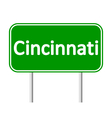Cincinnati green road sign vector image vector image