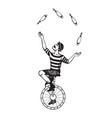 circus juggler engraving vector image vector image