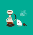 coffee pour-over maker image funny device vector image vector image
