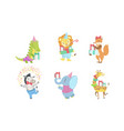 collection cute happy animals for happy vector image vector image