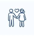 Couple in love sketch icon vector image vector image