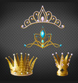 crown tiara gold diadem for princess queen set vector image