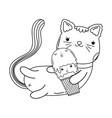 cute cat with ice cream vector image